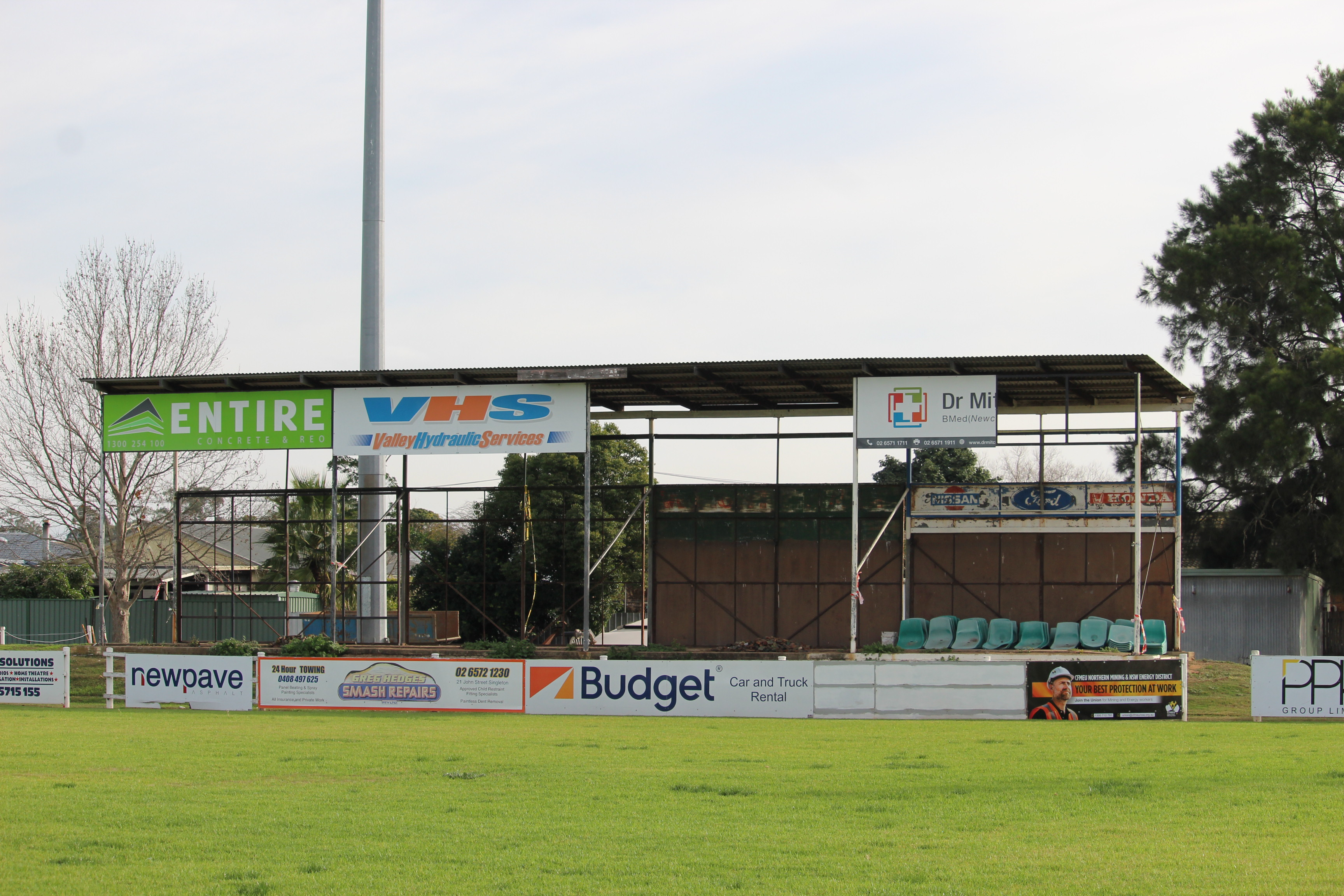 The framework of the Viv Stewart grandstand pictured at Singleton's Rugby Park last month.